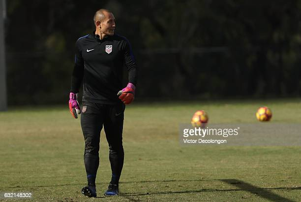 Goalkeeper Luis Robles looks on during the USMNT training session at StubHub Center on January 19 2017 in Carson California