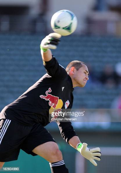 Goalkeeper Luis Robles of the New York Red Bulls passes the ball during FC Tucson Desert Diamond Cup Consolation match against the New England...