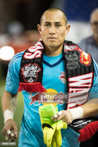Goalkeeper Luis Robles of the NY Red Bulls wears the Red Bulls scarf after the Toronto FC vs New York Red Bulls MLS match at Red Bull Arena on May 19...