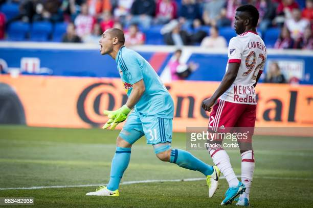 Goalkeeper Luis Robles of the NY Red Bulls yells at his teammates to keep their heads in the game with Kemar Lawrence looking on during the MLS match...