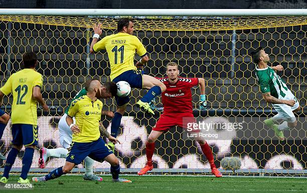 Goalkeeper Lukas Hradecky of Brondby IF in action during the UEFA Europa League Qualification match between Brondby IF and PFC Beroe Stara Zagora at...