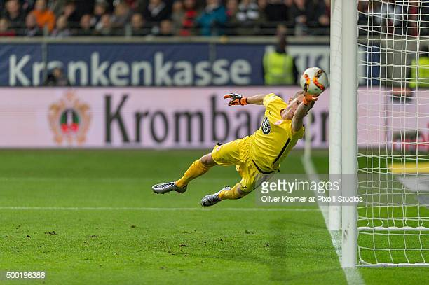 Goalkeeper Lukas Hradecky of Eintracht Frankfurt fails to save the first goal of SV Darmstadt 98 scored by Aytac Sulu of SV Darmstadt 98 at...
