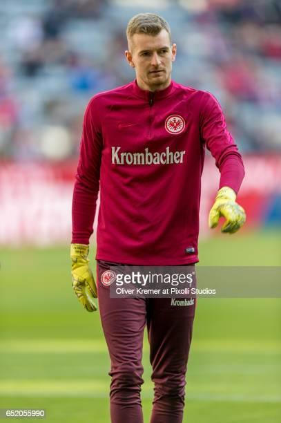 Goalkeeper Lukas Hradecky of Eintracht Frankfurt warms up prior to the 1 Bundesliga match between FC Bayern Muenchen and Eintracht Frankfurt at...