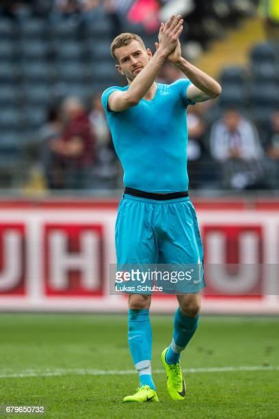 Goalkeeper Lukas Hradecky of Frankfurt applauds after loosing the Bundesliga match between Eintracht Frankfurt and VfL Wolfsburg at CommerzbankArena...