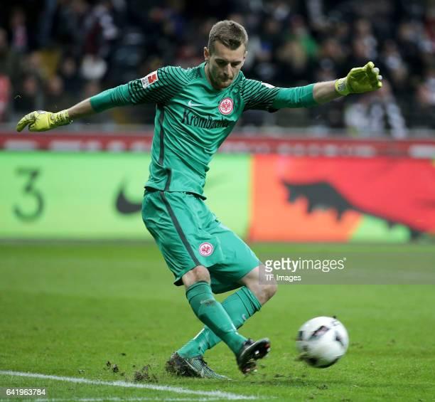 Goalkeeper Lukas Hradecky of Frankfurt controls the ball during the Bundesliga match between Eintracht Frankfurt and SV Darmstadt 98 at...