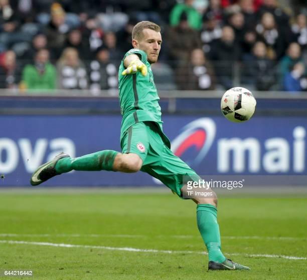 Goalkeeper Lukas Hradecky of Frankfurt controls the ball during the Bundesliga match between Eintracht Frankfurt and FC Ingolstadt 04 at...