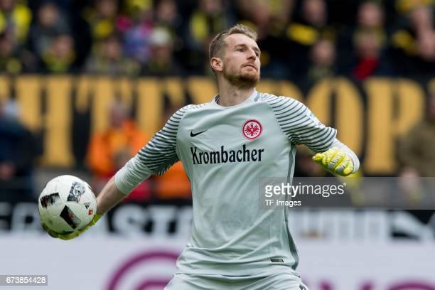 Goalkeeper Lukas Hradecky of Frankfurt controls the ball during the Bundesliga match between Borussia Dortmund and Eintracht Frankfurt at Signal...