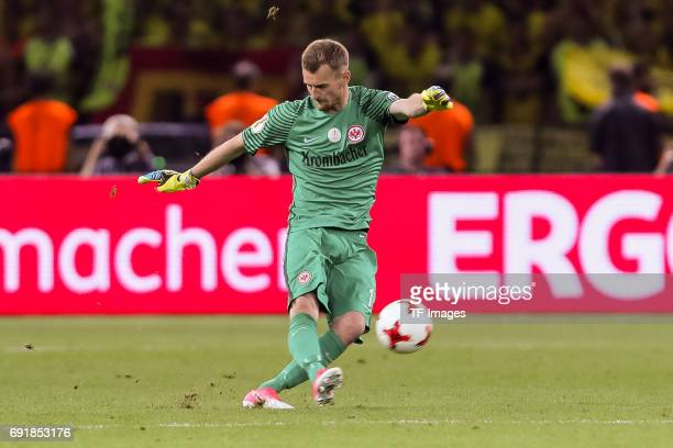 Goalkeeper Lukas Hradecky of Frankfurt controls the ball during the DFB Cup final match between Eintracht Frankfurt and Borussia Dortmund at...