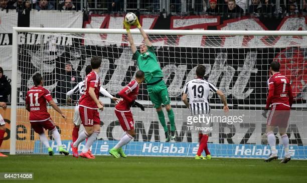 Goalkeeper Lukas Hradecky of Frankfurt Dario Lezgano of Ingolstadt Romain Bregerie of Ingolstadt Omar Mascarell of Frankfurt Marcel Tisserand of...