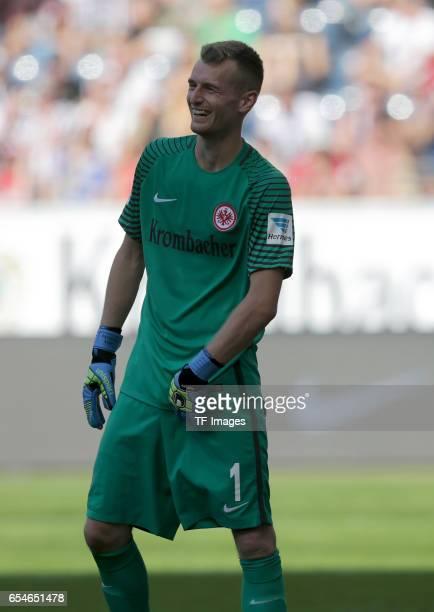 Goalkeeper Lukas Hradecky of Frankfurt freut sich looks on during the Bundesliga match between Eintracht Frankfurt and FC Schalke 04 at...