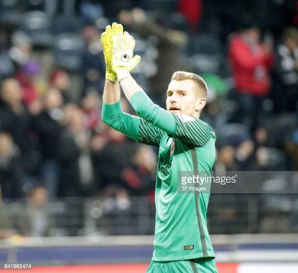 Goalkeeper Lukas Hradecky of Frankfurt gestures during the Bundesliga match between Eintracht Frankfurt and SV Darmstadt 98 at CommerzbankArena on...