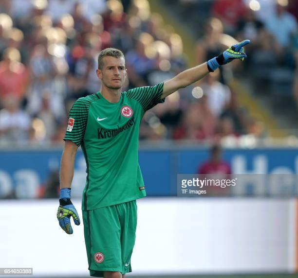 Goalkeeper Lukas Hradecky of Frankfurt gestures during the Bundesliga match between Eintracht Frankfurt and FC Schalke 04 at CommerzbankArena on...