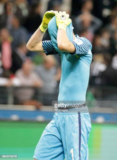 Goalkeeper Lukas Hradecky of Frankfurt gestures during the Bundesliga Match between Eintracht Frankfurt and Borussia Moenchengladbach at Commerzbank...