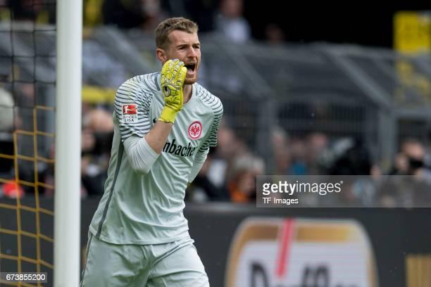 Goalkeeper Lukas Hradecky of Frankfurt gestures during the Bundesliga match between Borussia Dortmund and Eintracht Frankfurt at Signal Iduna Park on...
