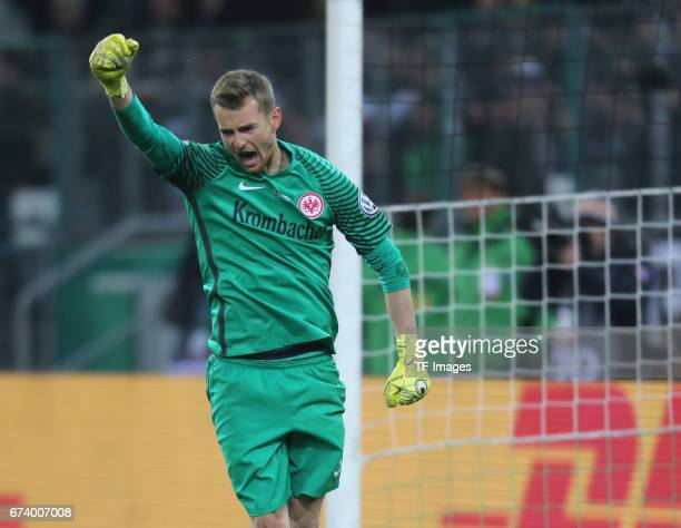 Goalkeeper Lukas Hradecky of Frankfurt gestures during the DFB Cup semi final match between Borussia Moenchengladbach and Eintracht Frankfurt at...
