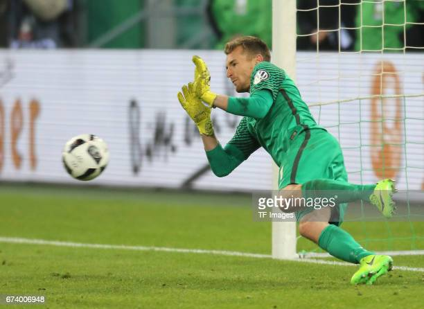 Goalkeeper Lukas Hradecky of Frankfurt in action during the DFB Cup semi final match between Borussia Moenchengladbach and Eintracht Frankfurt at...