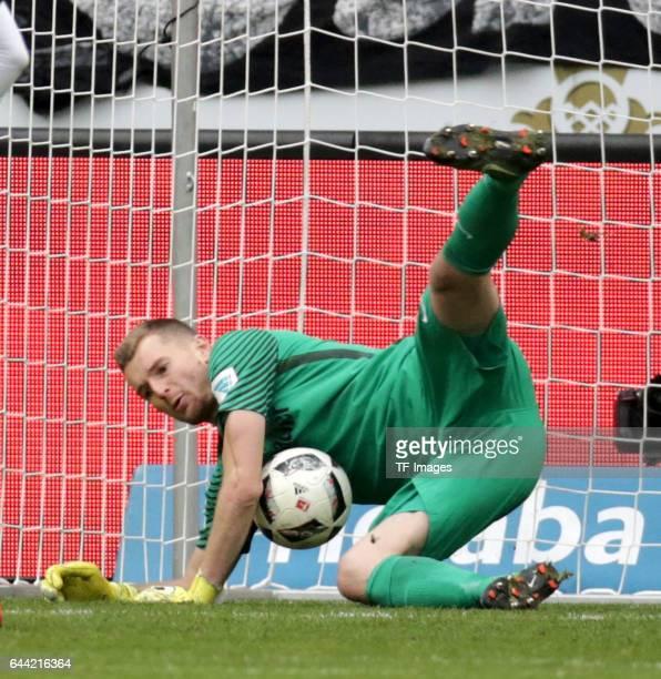 Goalkeeper Lukas Hradecky of Frankfurt in action during the Bundesliga match between Eintracht Frankfurt and FC Ingolstadt 04 at CommerzbankArena on...