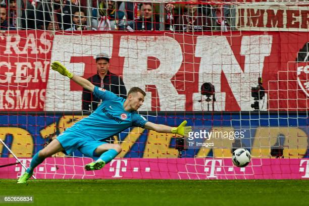 Goalkeeper Lukas Hradecky of Frankfurt in action during the Bundesliga match between Bayern Muenchen and Eintracht Frankfurt at Allianz Arena on...