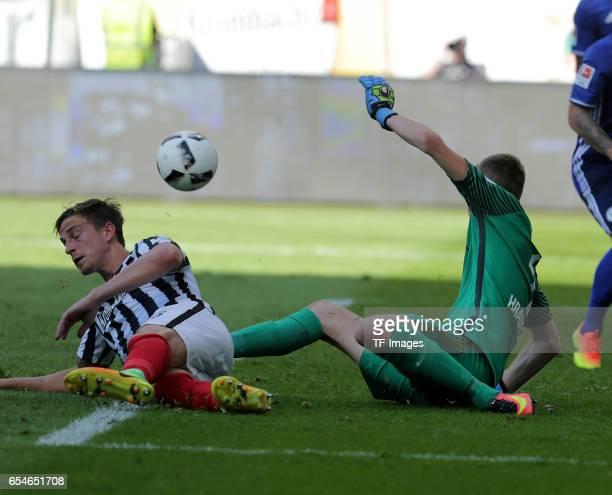 Goalkeeper Lukas Hradecky of Frankfurt in action during the Bundesliga match between Eintracht Frankfurt and FC Schalke 04 at CommerzbankArena on...