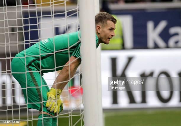 Goalkeeper Lukas Hradecky of Frankfurt looks on during the Bundesliga match between Eintracht Frankfurt and FC Ingolstadt 04 at CommerzbankArena on...