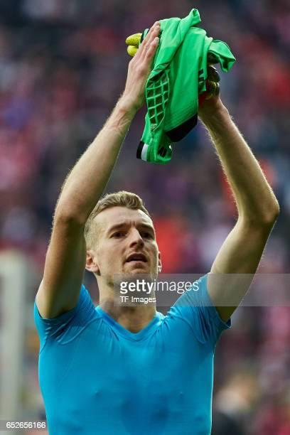 Goalkeeper Lukas Hradecky of Frankfurt looks on during the Bundesliga match between Bayern Muenchen and Eintracht Frankfurt at Allianz Arena on March...