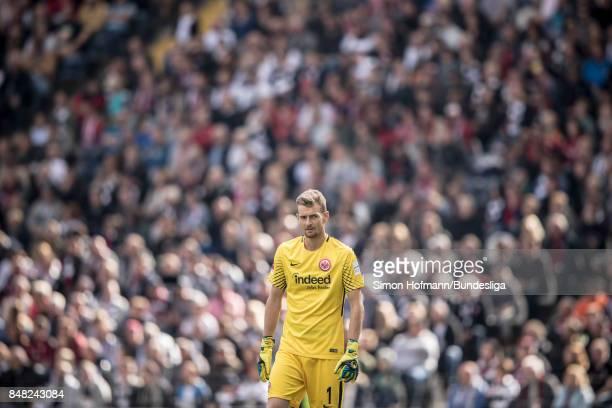 Goalkeeper Lukas Hradecky of Frankfurt looks on during the Bundesliga match between Eintracht Frankfurt and FC Augsburg at CommerzbankArena on...