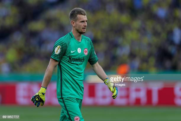 Goalkeeper Lukas Hradecky of Frankfurt looks on during the DFB Cup final match between Eintracht Frankfurt and Borussia Dortmund at Olympiastadion on...