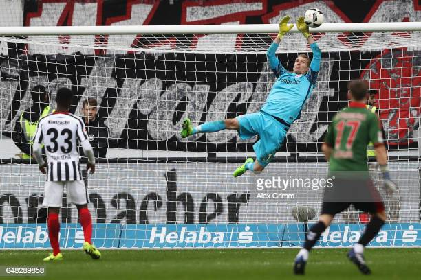 Goalkeeper Lukas Hradecky of Frankfurt makes a save during the Bundesliga match between Eintracht Frankfurt and SC Freiburg at CommerzbankArena on...