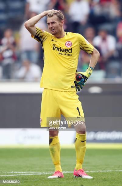 Goalkeeper Lukas Hradecky of Frankfurt reacts after the Bundesliga match between Eintracht Frankfurt and VfL Wolfsburg at CommerzbankArena on August...