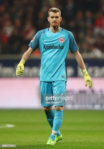 Goalkeeper Lukas Hradecky of Frankfurt reacts during the Bundesliga match between Eintracht Frankfurt and Werder Bremen at CommerzbankArena on April...