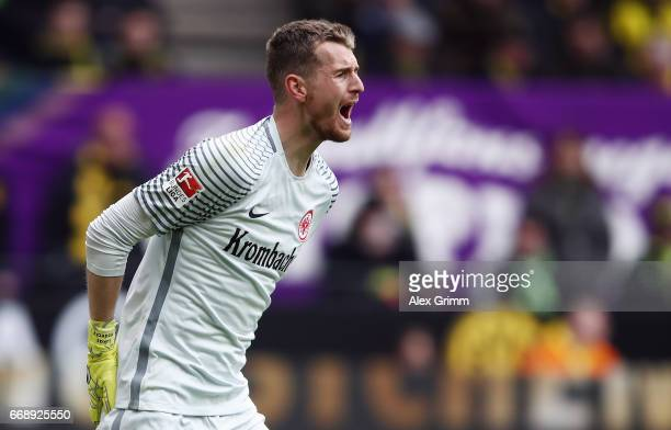 Goalkeeper Lukas Hradecky of Frankfurt reacts during the Bundesliga match between Borussia Dortmund and Eintracht Frankfurt at Signal Iduna Park on...