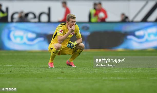 Goalkeeper Lukas Hradecky of Frankfurt shows his disappointment after the Bundesliga match between Eintracht Frankfurt and FC Augsburg at...
