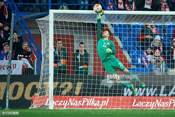 Goalkeeper Lukasz Fabianski of Poland saves during the international friendly soccer match between Poland and Serbia at the Inea Stadium on March 23...