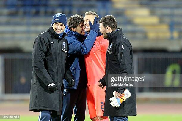 Goalkeeper Lukasz Skorupski of Empoli FC reacts after the Serie A match between Empoli FC and Cagliari Calcio at Stadio Carlo Castellani on December...