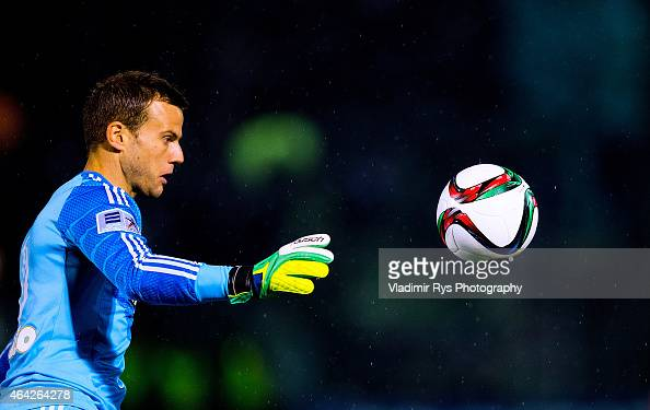 Goalkeeper Luke Steele of Panathinaikos controls the ball during the Superleague match between Panathinaikos FC and Olympiacos at Apostolos...