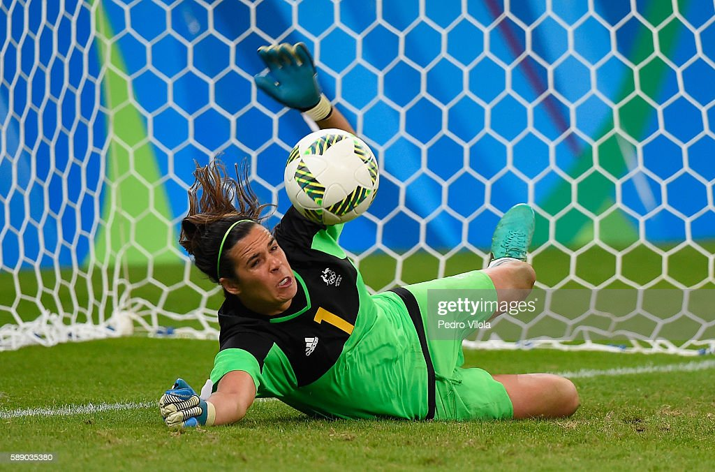 Goalkeeper Lydia Williams of Australia defends the net against Brazil in Penalties Shootout during the Women's Football Quarterfinal match at...