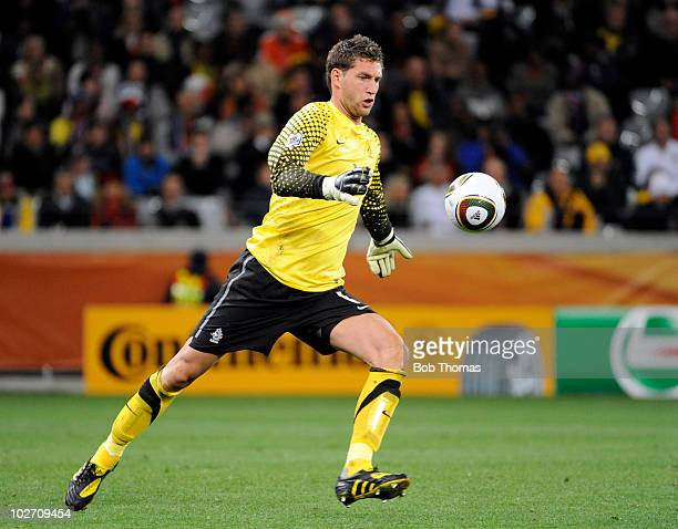 Goalkeeper Maarten Stekelenburg of the Netherlands during the 2010 FIFA World Cup South Africa Semi Final match between Uruguay and the Netherlands...