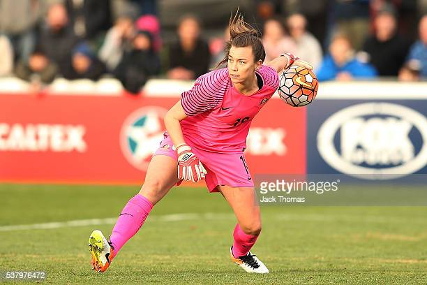 Goalkeeper Mackenzie Arnold of Australia throws the ball during the women's international friendly match between the Australian Matildas and the New...