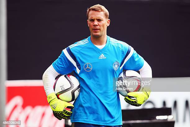 Goalkeeper Manuel Neuer attends a Germany training session at 'Kleine Kampfbahn' training ground on September 2 2015 in Frankfurt am Main Germany