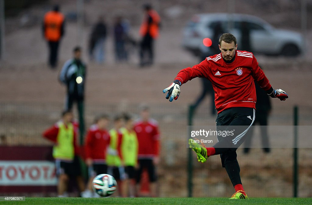 Goalkeeper Manuel Neuer in action during a Bayern Muenchen training session for the FIFA Club World Cup next to Agadir Stadium on December 16, 2013 in Agadir, Morocco.