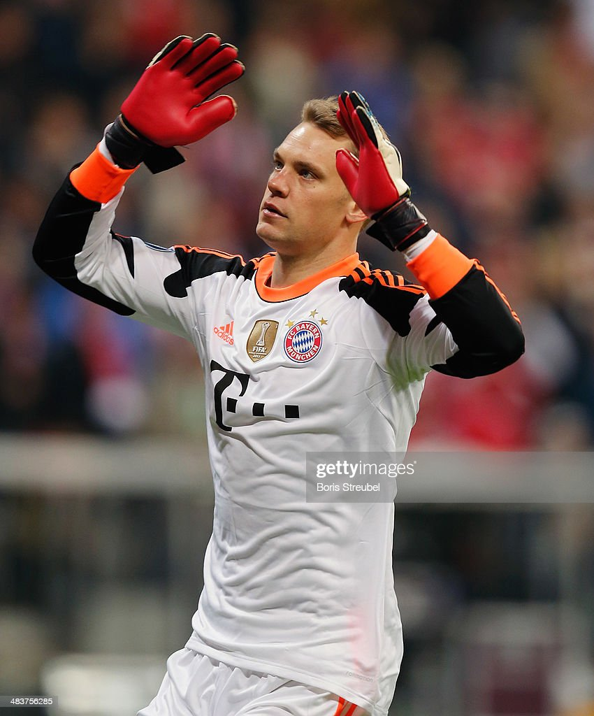 Goalkeeper Manuel Neuer of Bayern Muenchen gestures during the UEFA Champions League Quarter Final second leg match between FC Bayern Muenchen and Manchester United at Allianz Arena on April 9, 2014 in Munich, Germany.
