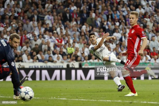 goalkeeper Manuel Neuer of Bayern Munich Marco Asensio of Real Madrid Joshua Kimmich of Bayern Munich 42during the UEFA Champions League quarter...