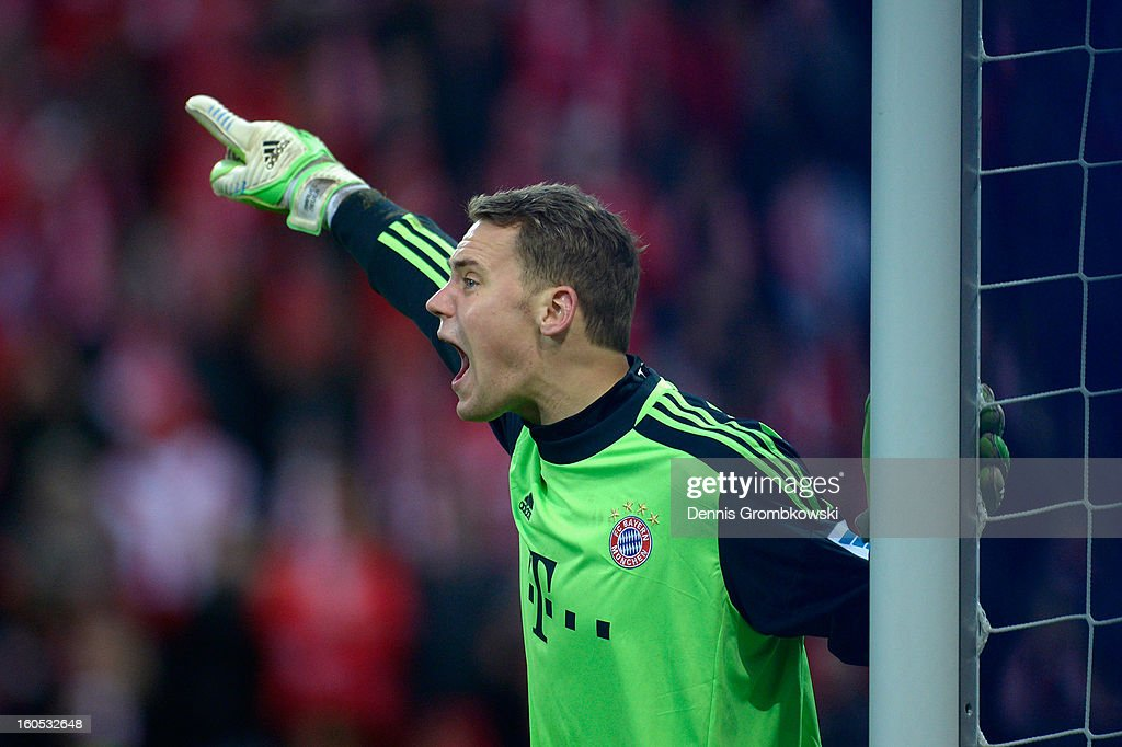 Goalkeeper <a gi-track='captionPersonalityLinkClicked' href=/galleries/search?phrase=Manuel+Neuer&family=editorial&specificpeople=764621 ng-click='$event.stopPropagation()'>Manuel Neuer</a> of Bayern reacts during the Bundesliga match between 1. FSV Mainz 05 and FC Bayern Muenchen at Coface Arena on February 2, 2013 in Mainz, Germany.