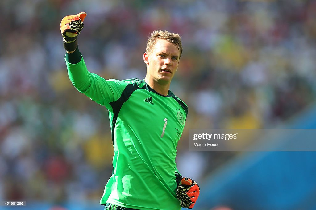 Goalkeeper <a gi-track='captionPersonalityLinkClicked' href=/galleries/search?phrase=Manuel+Neuer&family=editorial&specificpeople=764621 ng-click='$event.stopPropagation()'>Manuel Neuer</a> of Germany gestures during the 2014 FIFA World Cup Brazil Quarter Final match between France and Germany at Maracana on July 4, 2014 in Rio de Janeiro, Brazil.