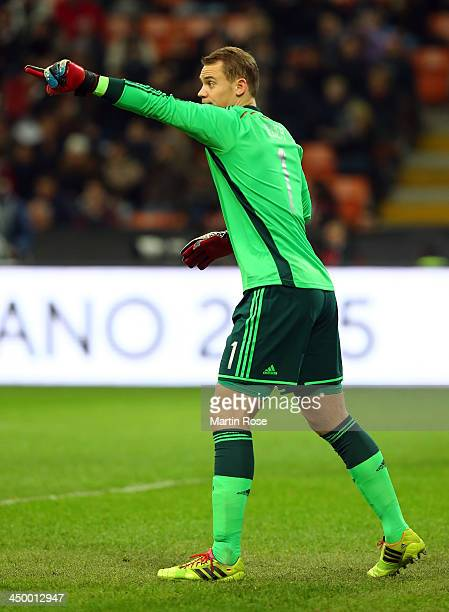 Goalkeeper Manuel Neuer of Germany gives instructions the International Friendly match between Italy and Germany at San Siro Stadium on November 15...