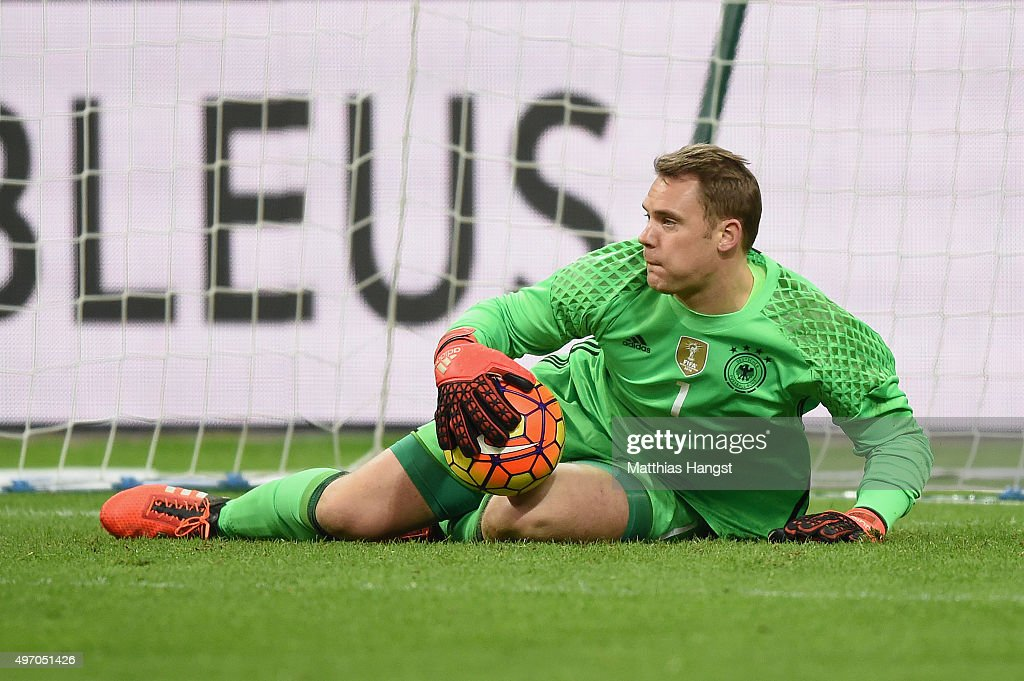 Goalkeeper Manuel Neuer of Germany in action during the International Friendly match between France and Germany at the Stade de France on November 13...