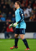 Goalkeeper Manuel Neuer of Germany is seen during the FIFA 2014 World Cup Qualifying Group C match between Germany and Republic of Ireland at...