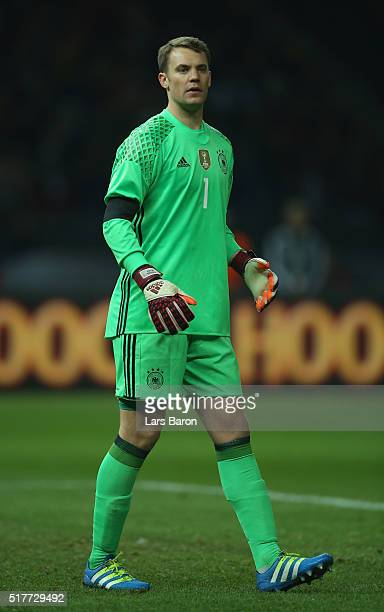 Goalkeeper Manuel Neuer of Germany looks on during the International Friendly match between Germany and England at Olympiastadion on March 26 2016 in...