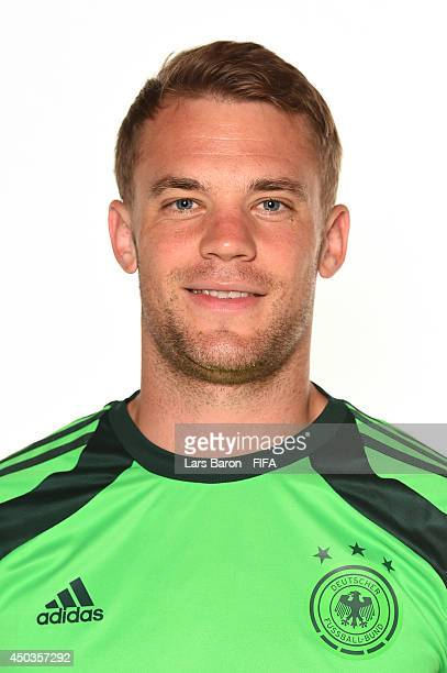 Goalkeeper Manuel Neuer of Germany poses during the official FIFA World Cup 2014 portrait session on June 8 2014 in Salvador Brazil