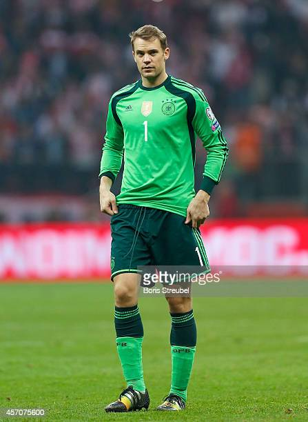 Goalkeeper Manuel Neuer of Germany shows his frustration after losing the EURO 2016 Group D qualifying match between Poland and Germany at the...